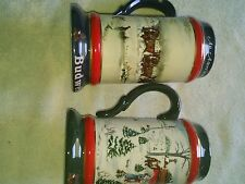 Budweiser CLYDESDALE Holiday Stein 1990 & 1991 Vintage Beer Mugs