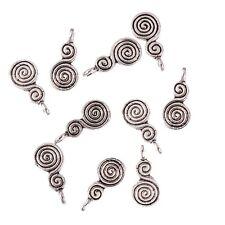 10PCS Tibetan Silver Double whirlpool Bead Charms Pendant  Jewelry Making 17*9mm