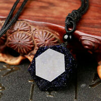 Natural Blue Sandstone Pendant Necklace Chain Hexagram Pendulum Charm Jewelry
