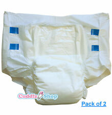 Pack of 2 DryDayz Large All White Adult Nappies Nappy / Cuddlz Diapers ABDL