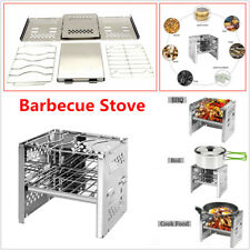 Barbecue Grill Folding Portable Charcoal Wood Stove Camping Garden  Outdoor BBQ