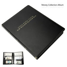 60 Pockets Leather Notes Album Banknote Paper Money Collection Stamps Book