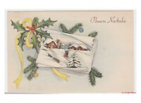 Christmas Decorations Card Best Wishes Vintage Christmas Country Snowy Holly