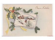 decorazioni natalizie cartolina auguri vintage Natale paese innevato agrifoglio