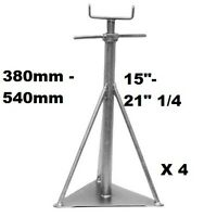 "Static Caravan Axle Stands X4, 380mm - 540mm or 15"" - 21 1/4 Siting Support"