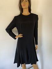 VTG ESCADA MARGARETHA LEY Black Long Sleeve SILK DRESS US 12 EU 36