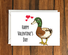 Happy Valentine's Day Duck greeting card A6 and Envelope