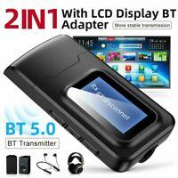 Bluetooth 5.0 Transmitter Audio Empfänger LCD USB Dongle Adapter für Auto TV PC