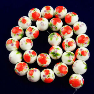 12mm Red Cyan White Ceramics Ball Flower Loose Bead 15.5 Inch B37535