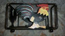 BLACK METAL COLORFUL ROOSTER DESIGN BASKET DECORATIVE HOME DECOR NAPKIN HOLDER