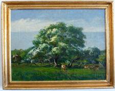 Cerf sous Arbres,1. moitié 20. siècle signé : N CH huile sur la toile,ungereini