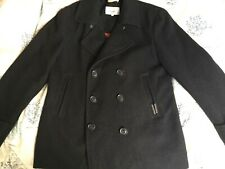 "SUPERDRY Men's Classic Commodity Dark Grey Wool Pea Coat  Size XXL 44"" Chest"