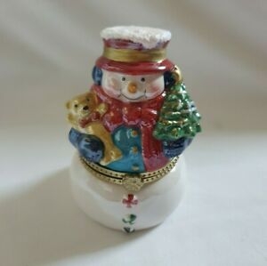 ❀ڿڰۣ❀ MR CHRISTMAS Porcelain CHRISTMAS SNOWMAN Hinged Musical TRINKET BOX ❀ڿڰۣ❀