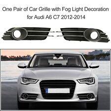 For Audi A6 C7 2012-2014 2Pcs Lower Bumper Grille + Fog Light Decoration H00A