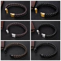 Fashion Braided Leather Bracelet Cuff Wrap Bangle Stainless Steel Clasp Jewelry
