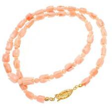 Genuino Natural (NO incrementado) Rosado Coral Flor Cuenta Collar de cuerda 18