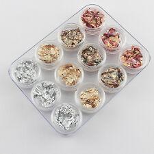 12pcs Nail Art GOLD SILVER COPPER Foil Paillette Chip Flakes Wraps Decro Tips