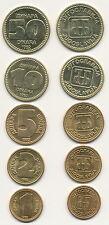 Jugoslawien / Yugoslavia - 1 + 2 + 5 + 10 + 50 Dinara 1992 UNC Satz