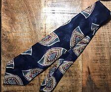Alessio Mens Tie Navy Blue Paisley