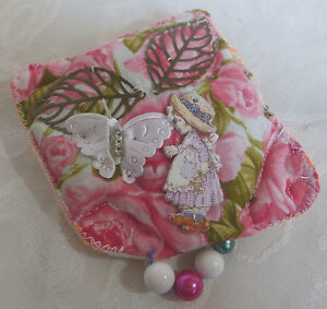 Fabric Handcrafted Brooch Pinks Doll Buttons Beads One Of A Kind  From Artist