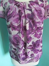 DEBENHAMS CLASSICS PURPLE FLOWER PATTERN BLOUSE/TOP SHORT SLEEVE SIZE 10