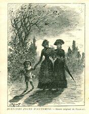 Gravure ancienne 1883 mode derniers jours d'automne Fraipont issue du livre
