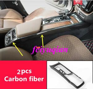 2x Carbon fiber Inner Gear Shift Box Panel Strip Cover For Volvo XC60 2018 2019