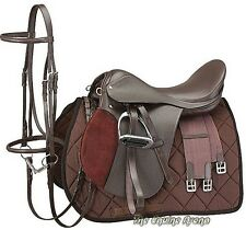 15 Inch All Purpose English Saddle Package - Havana Brown-Leather -Free Shipping