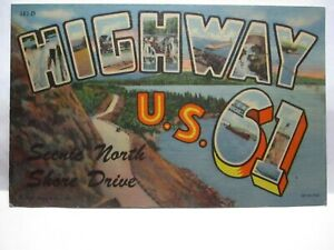 1940 INT. NEWS CO DULUTH LARGE LETTER POSTCARD SCENIC N SHORE DRIVE, HWY U.S. 61