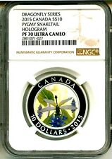 2015 Canada S$10 Dragonfly Series Pygmy Snaketail Hologram NGC PF70 Ultra Cameo