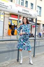 Damen Kapuzen Kleid dress Blau Grün lila 70er 36 True VINTAGE seitlich geknöpft