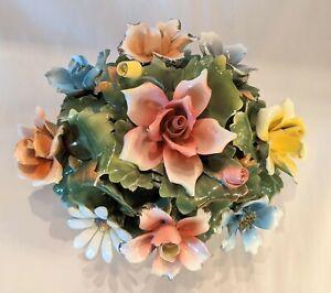 Large Vintage Capodimonte Porcelain Flower Basket Italian Minimal Damage