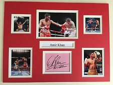 """Boxing Amir Khan Signed 16"""" X 12"""" Double Mounted Display"""