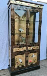 * Chinese  Black Lacquered Chinoiserie Display Cabinet cupboard *