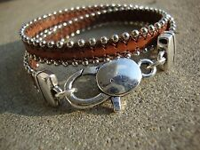 Brown Genuine Leather Silver Bracelet Double Wrap Silver and Leather Bracelet