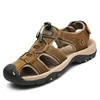 New Mens Casual Leather Sandals Breathable Flat Closed Toe Outdoor Beach Summer