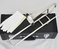 Quality Silver Nickel Slide Trumpet Bb Key Soprano Trombone Horn with Case