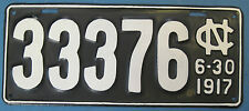 1917 North Carolina License Plate nice repainted from good original plate