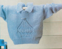 "Baby Sweater with Eyelet Boat Motif  16 -  24"" DK  Easy Knitting Pattern"