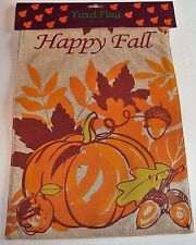 "Fall Burlap Yard Flag 12"" x 18"" Happy Fall/Pumpkins & Fall Leaves Flip-Flag"