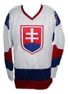 Any Name Number Size Team Slovakia Retro Hockey Jersey White Halak