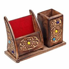 Wooden Multiporpose Carved Home Office Table Pen Pencil Holder Mobile Stand Gift
