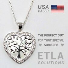 "Life Heart Pendant w/ 20"" / Valentine's Gift Mother of Pearl / Solid 925 Tree of"