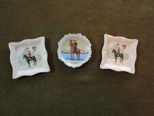 "Three Original WW2 Era RCMP ""Royal Canadian Mounted Police"" Painted China Plates"