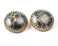 Gold Tone and Black Earrings, Vintage 1950s