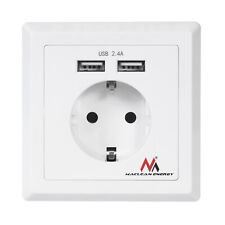 Wall Power Socket EU Electrical Outlet With Dual USB Charging Port 2.4A White