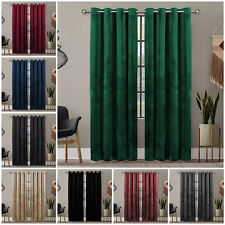 Luxury Crushed Velvet Pair Curtains Eyelet Ring Top Ready Made Lined Curtain New