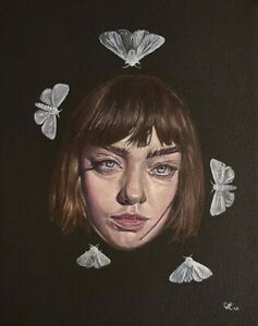 """""""Girl face"""" Original painting Oil on canvas, 200 x 250 mm, (8 x 10 in) 2020"""