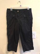 Ann Taylor Black Crop Pants Tab Zipper Pockets Size 4