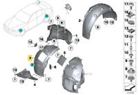 Véritable BMW 3' F31 F34 Gt / LCI Housse Wheelhousing avant Droit 51717288912